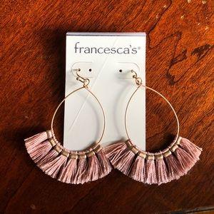 Rose tassel hoop earrings